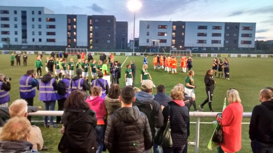 The Hibs Players Receive their Runners-Up Medals in the 2015 SWP League Cup FInal